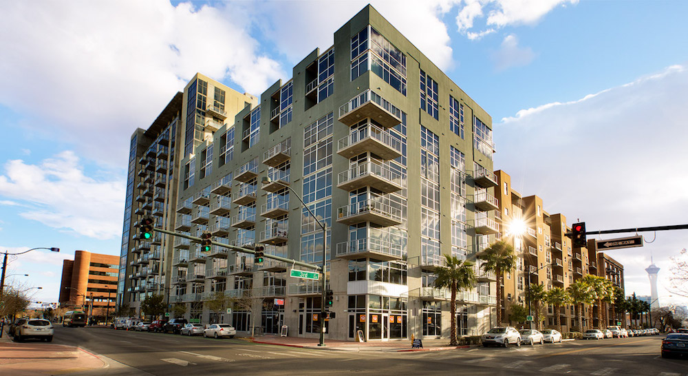 exterior of juhl condominium building stands at downtown las vegas intersection