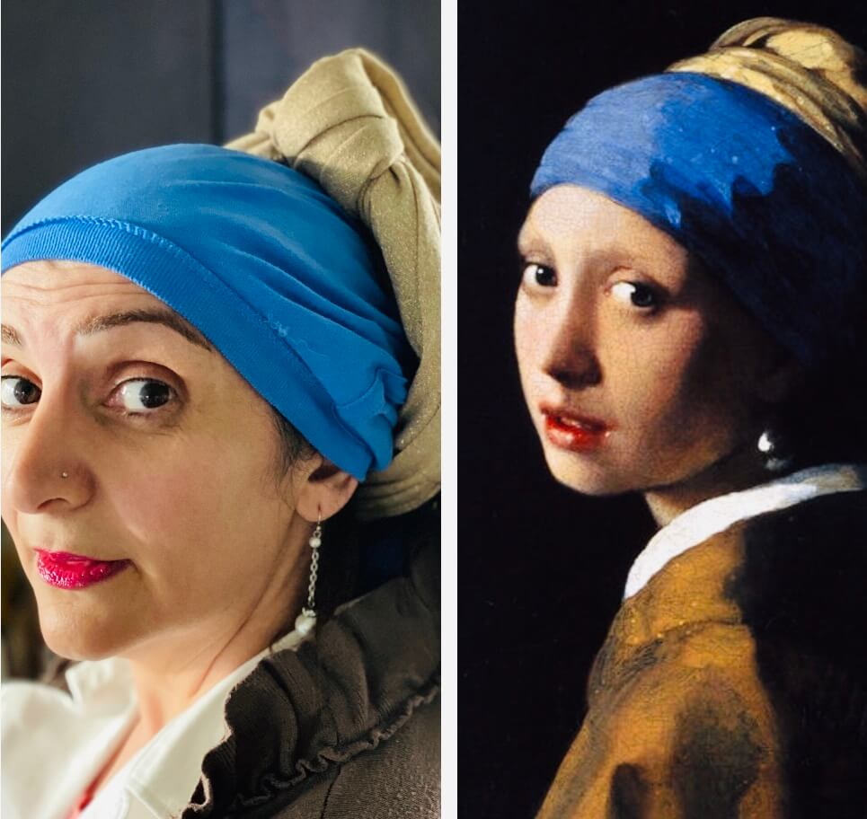woman recreates famous girl with the pearl earring painting with side-by-side presentation