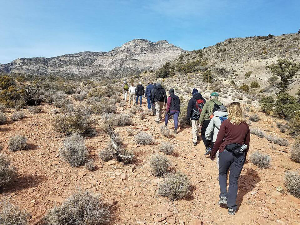 group of hikers single-file walk up desert trail in sun
