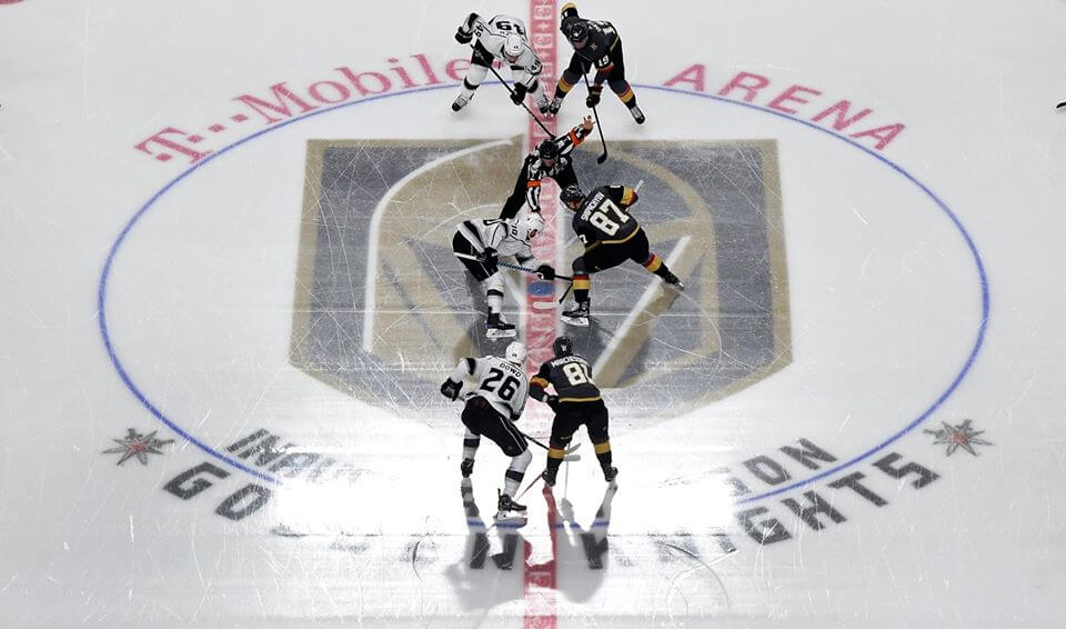 las vegas golden knights hockey team square off to start a new game