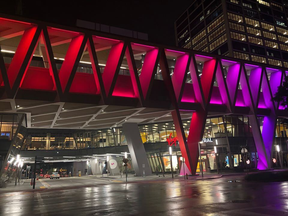 Miami Virgin Trains Terminal at night