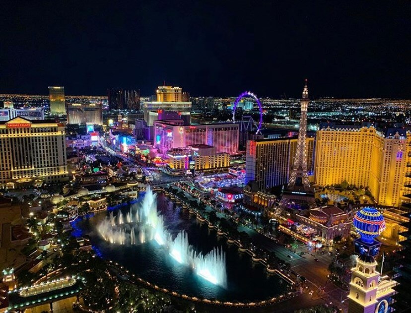 las vegas strip lights up from an aerial perspective
