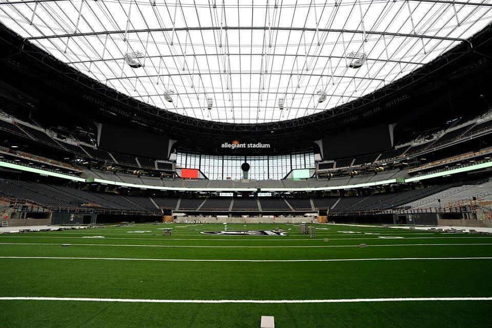 allegiant stadium field from the endzone
