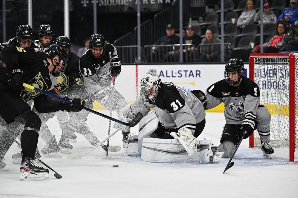 vegas golden knights hockey player defends goal in game
