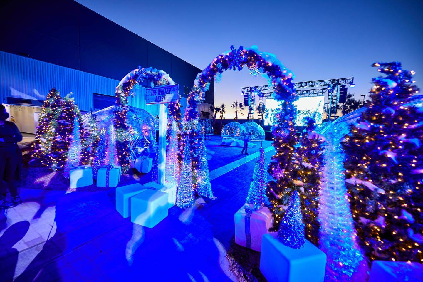 urban winter wonderland with christmas lights