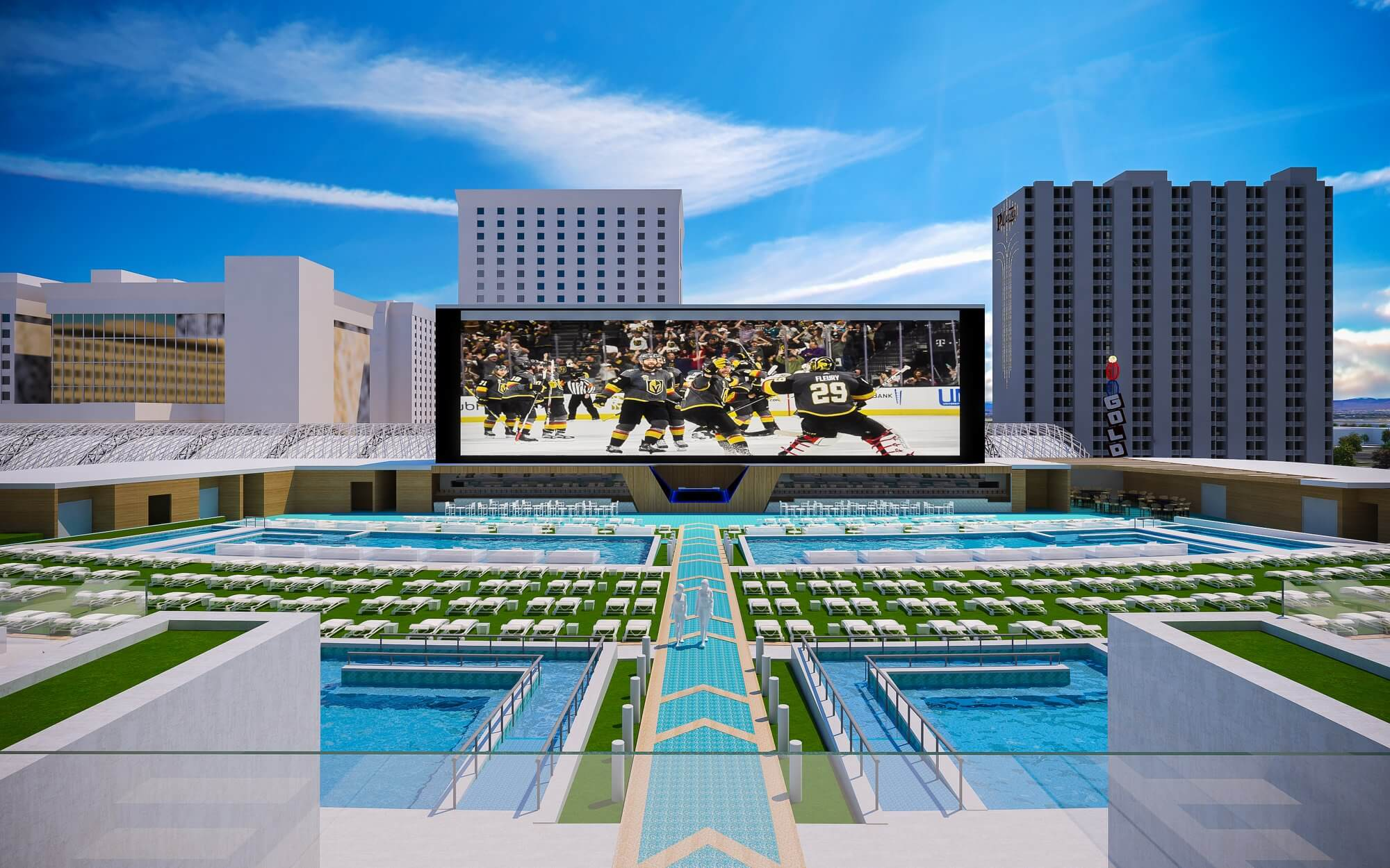 resort pool with enormous TV screen