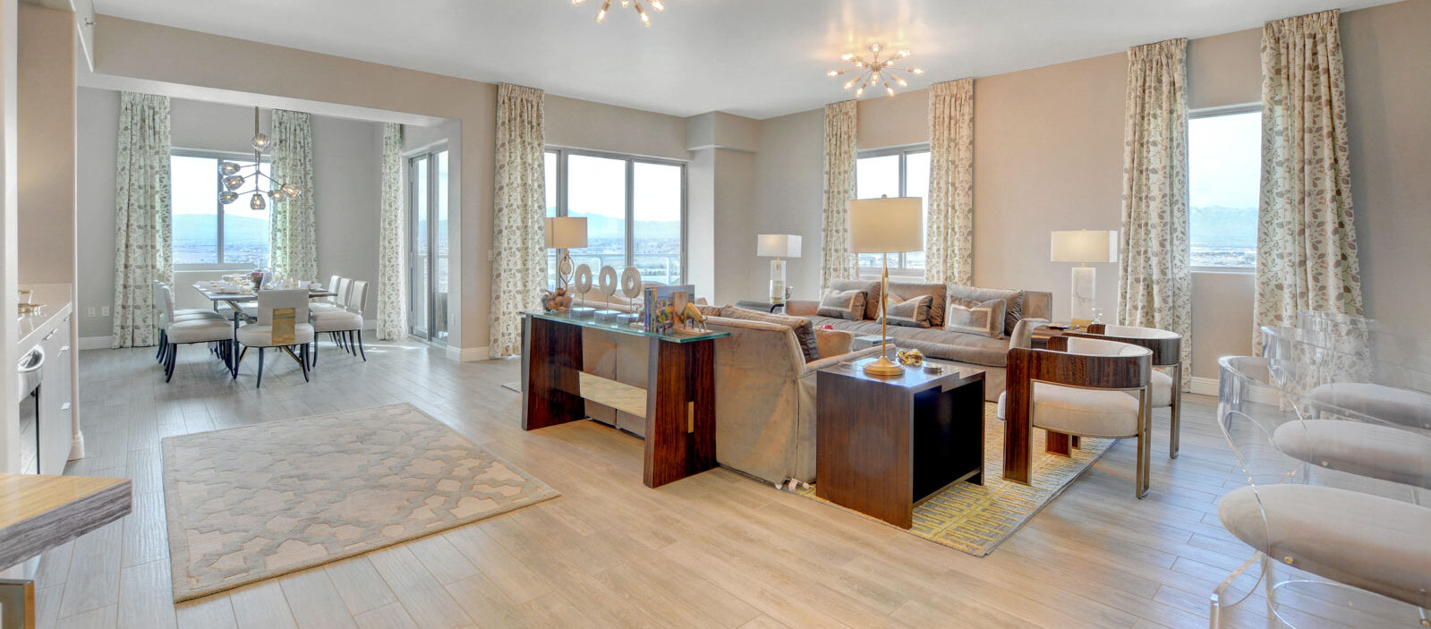penthouse living room with newly remodeled finishes