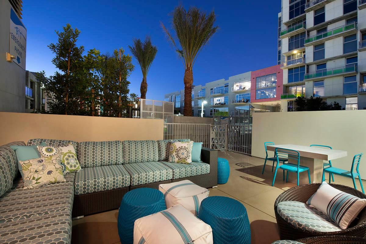 terrace next to condo pool