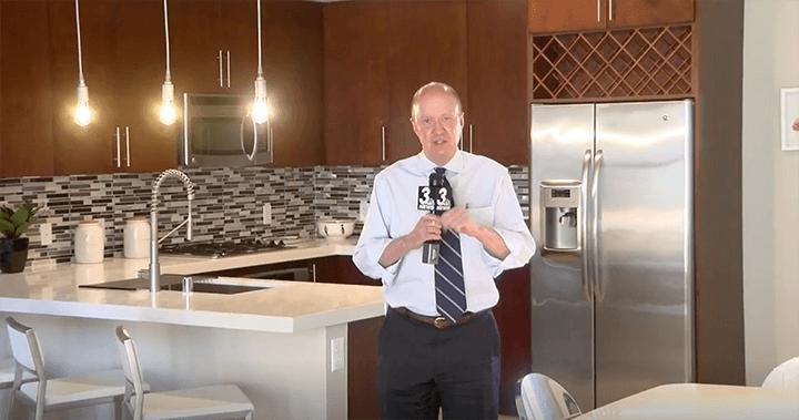 news anchor tours through new condo home