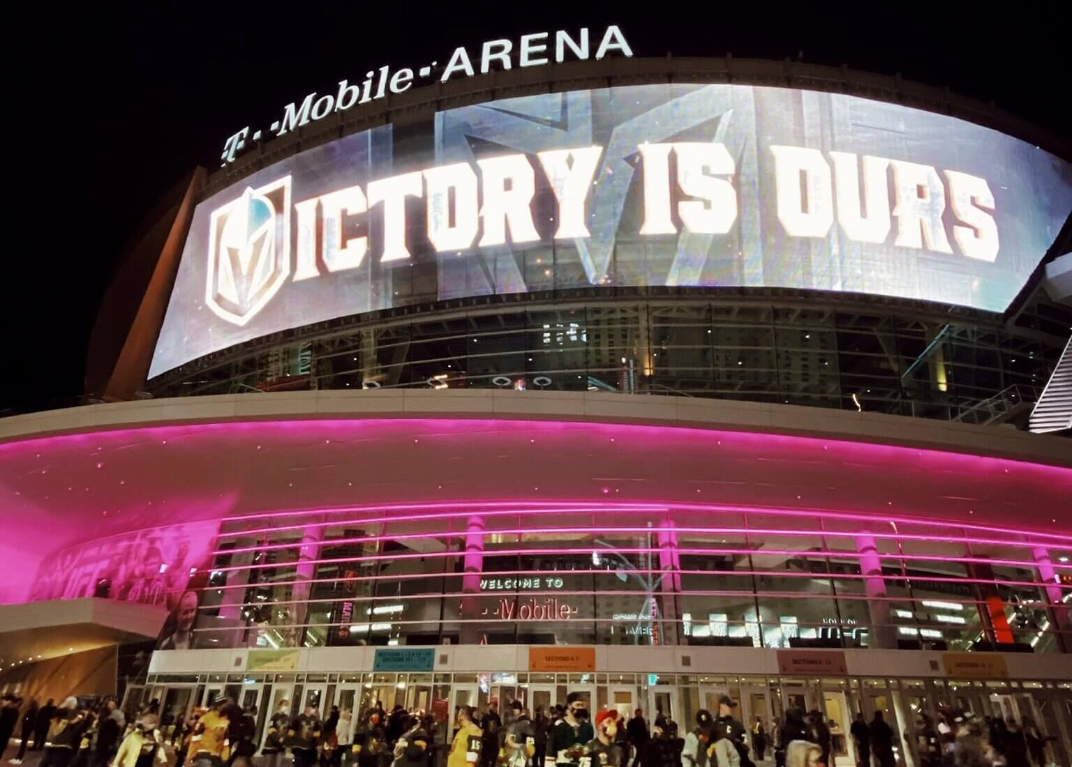 tmobile arena lights up for sports event at night