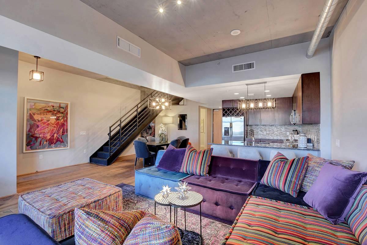 colorful living room furniture in condo