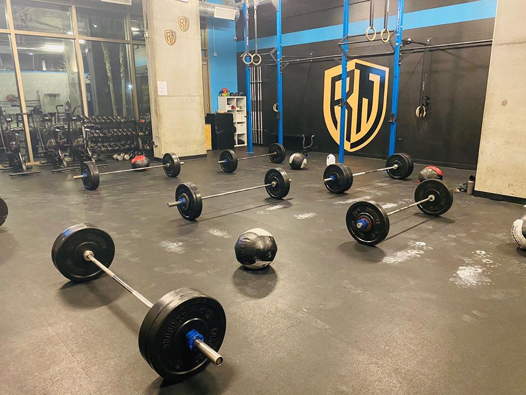 fitness gym with free-standing weights