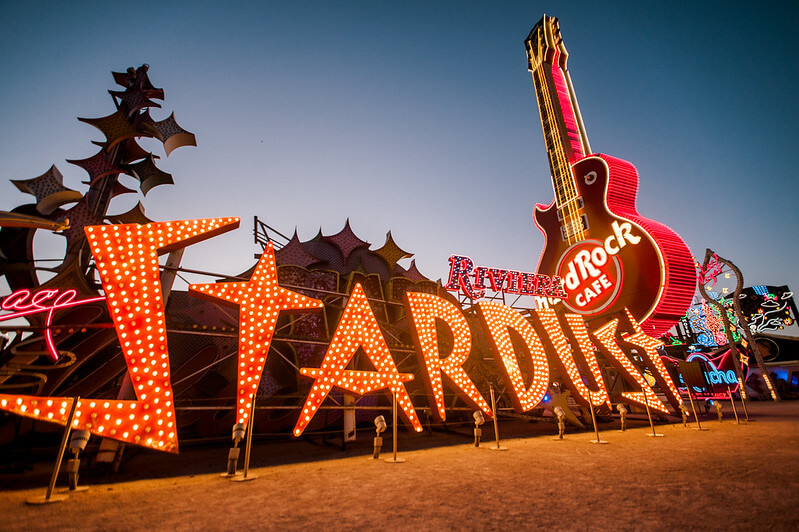 Stardust restored sign with Riviera and Hard Rock Guitar in backdrop