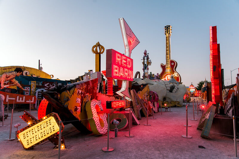 outdoor pathways lined with restored neon signs at the Neon Museum