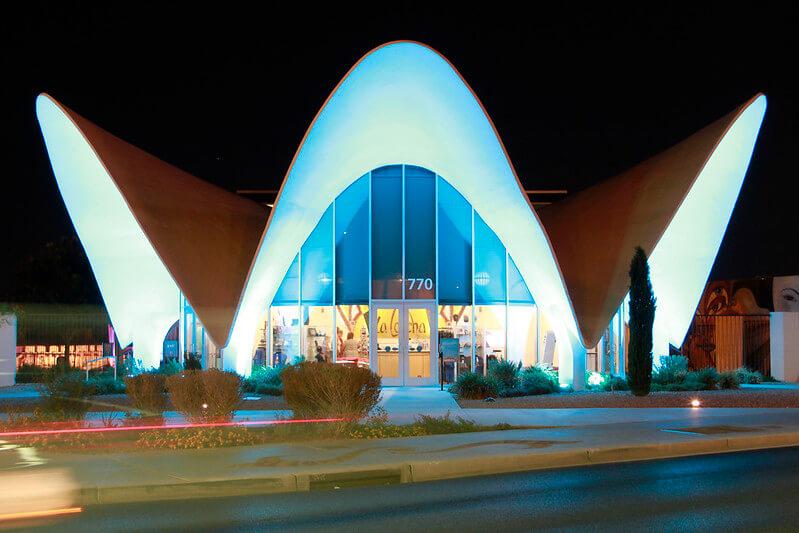 main entrance and memorabilia building of The Neon Museum